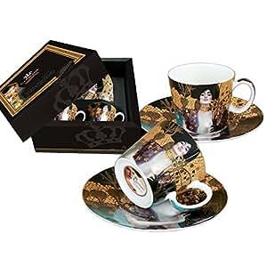 """Carmani - Tazze per caffè Espresso, in porcellana con piattino decorato con """"Giuditta"""" di Gustav Klimt Set di 2"""