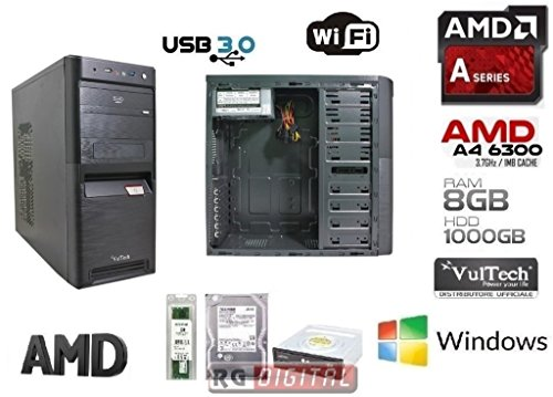 RGDIGITAL - Desktop PC AMD A4-6300 2x3.7GHz (turbo fino a 3.90GHz) 1TB HDD / 8GB RAM / AMD Radeon HD 8370D / WiFi / DVD RW / USB3.0 / Windows 7 64bit professional / UFFICIO LAVORO AZIENDE SALA SCOMMESSE