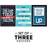 Motivational Quotes Posters - Set Of 3 Inspirational Wall Quotes For Office And Study Room | Size 12 X 18 Inch