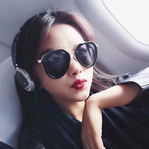 Sunyan Koreanischen red net Mode Men Sonnenbrille Brille Frame Sonnenbrille super Star Fahren Sie Leute Kuroshio Sonnenbrille, Helles schwarz All Black Film