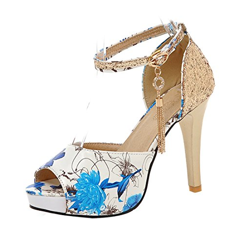 UH Damen Blumenmuster Peep Toe High Heels Ankle Strap Stiletto Sandalen Plateau Glitzer Pumps Schuhe Ankle Strap Peep Toe Sandalen