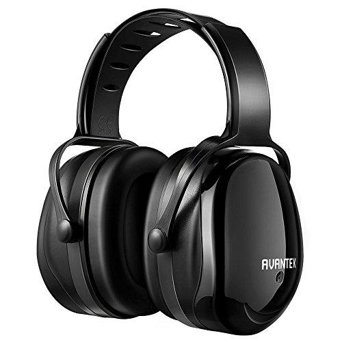 AVANTEK Ohrenschützer, 34 dB NRR, Sicherheits Kapselgehörschützer für Schießsport, Schlafen und Jagen, Verstellbarer Kopfbügel- und Scharfschuss-Ohrschutz, Geeignet für Erwachsene und Kinder (Schwarz)
