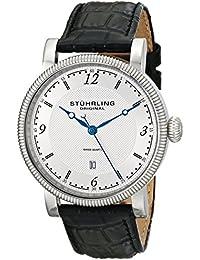 Stuhrling Original Symphony Parliament - Reloj de cuarzo, para hombre, con correa de cuero, color negro y blanco