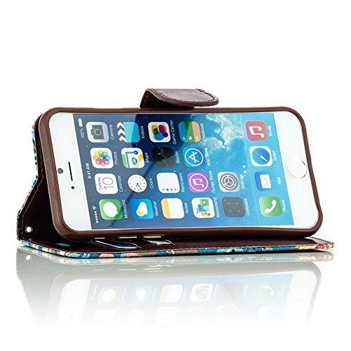 Saxonia Tasche + Panzerglas Apple iPhone 6 6S Hülle Flip Case Schutzhülle Handytasche Wallet mit Kartenfach / Standfunktion Blumen Motiv Blau BLUMEN Blau