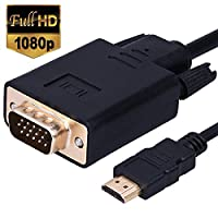 Wonlyus HDMI to VGA Cable Gold-plated 1080P HDMI Male to VGA Male D-SUB 15 Pin M/M Active Video Adapter Converter Cord (6 Feet/1.8 Meters)