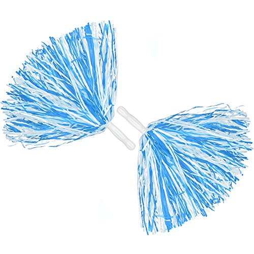 COM-FOUR® 2x Cheerleader PomPom in blau, 35 cm (02 Stück - blau)