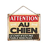 Plaque Décorative en Métal 20x20 cm - Attention au Chien