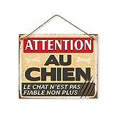Plaque Décorative en Métal 20x20 cm - Attention au Chien