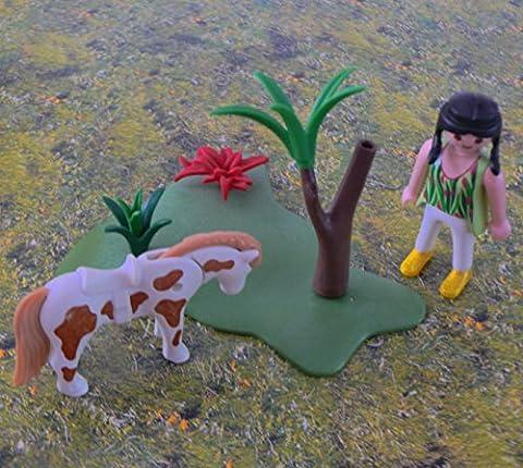 playmobil ® Platte Landschaft - Mädchen - Pony - Baum - Sträucher - Baumstamm