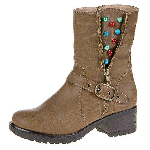 Ital-Design ir-24de bottes pour femmes Brown - Hellbraun IR-24