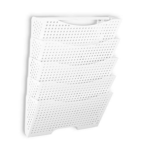 Wandhalterung Datei Organizer von fasthomegoods-stabile Modular Design mit 5Aufbewahrung Ordner-Der einfache Weg zu Sortieren und organisieren alle Ihre Papiere, weiß (Ordner-halter An Der Wand)