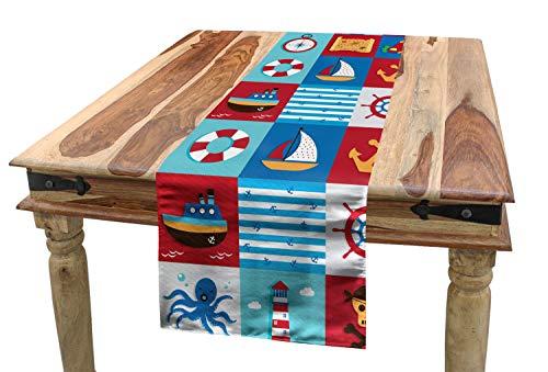 ABAKUHAUS Marine Tischläufer, Cartoon nautische Symbole, Esszimmer Küche Rechteckiger Dekorativer Tischläufer, 40 x 180 cm, Mehrfarbig