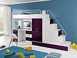 Furnistad Kinderzimmer Komplett Sun | Kinder Hochbett mit Treppe, Schreibtisch, Schrank und Gästebett (Option rechts, Weiß + Violett)