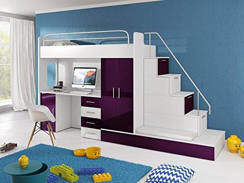 Furnistad | Hochbett für Kinder Sun | Kinderhochbett mit Treppe, Schreibtisch, Schrank und Gästebett (Option rechts, Weiß + Violett)