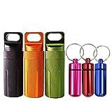 6Pc Imperméable Pilulier Boîte Pilule Médicament Flacon, Extérieur Camping Voyager Portable de récipient, Capsule de pilule d'aluminium bouteille(3 Mini + 3 Grande, Couleurs Aléatoires)