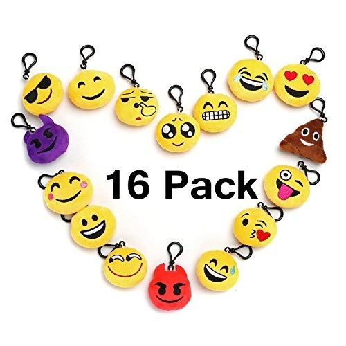Plüsch Schlüsselanhänger 5CM Mini Emoji Kissen Party ausstattungen Dekoration , Party Dekoration Neuheit Geschenke Stoffspielzeug für Babys Set von 16