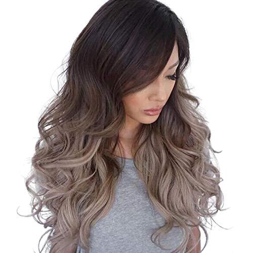 Perruque Femme naturelle, feiXIANG femmes haute qualité dégradé color Perruque Cheveux ondulés Extensions de cheveux longue Complète bouclé ondulé Chaleur resistant Synthetique