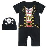 Mombebe Baby Jungen Halloween Piraten Kostüm Strampler mit Hüte (0-6 Monate/ 70, Piraten)