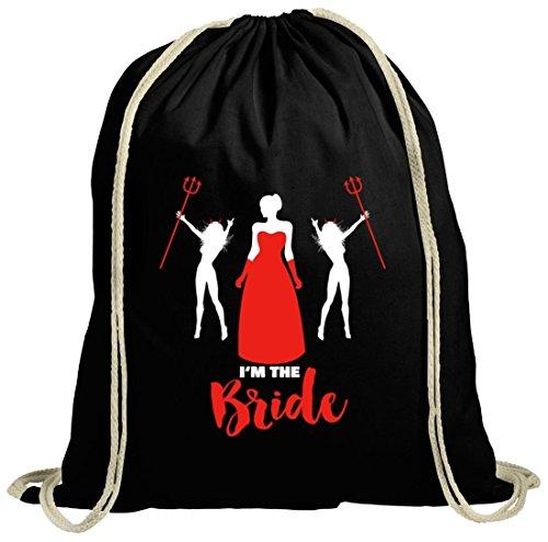Junggesellenabschieds JGA Hochzeit natur Turnbeutel mit Devil Bride Motiv schwarz natur