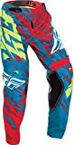 Fly Racing 2017 Kinder Motocross / MTB Hose - Kinetic Relapse - teal-rot: Größe Hose: 28Y US / 147-158 cm
