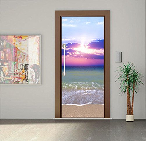 leber, Lila Glowing On Beach 3D Wandkunst Bild Wandbild Wandaufkleber Türaufkleber Tapete Aufkleber Home Decoration ()