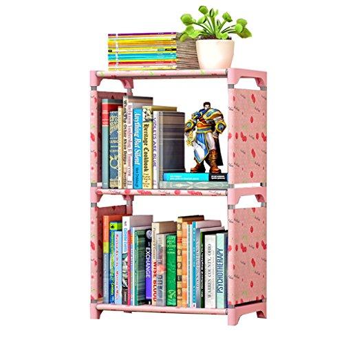 Badezimmer Regal Creative Thicken Non-Woven-Stoff Regale Einfache 3-Tier-Bücherregal Kombinierte Bücherregal Pink Lucky Cherry Color Collation Frame Duschkugelecke Wasserdicht (3 Tier Bücherregal)