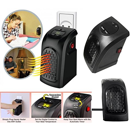 Takestop® - Estufa eléctrica de 350W, portátil, enchufe toma eléctrica regulable de...