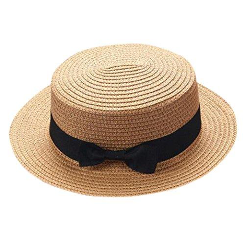 Sombrero de paja para niños con lazo para el padre/madre/bebé, transpirable, de la marca Square, Tennis, mujer, color caqui, tamaño For Father or Mother