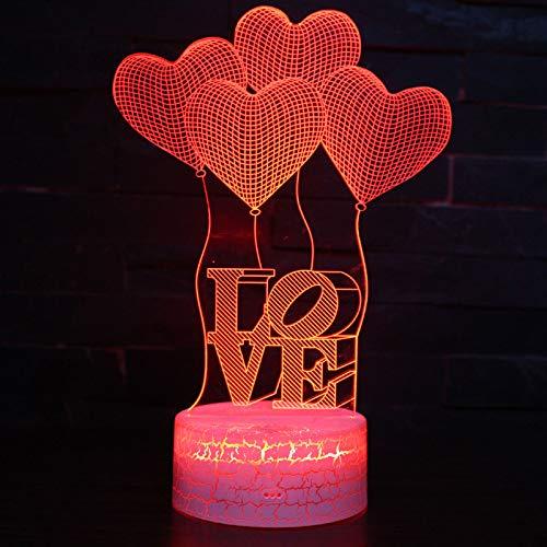 GUANGYING Luz nocturna Corazón Globo Tema De Amor Lámpara 3D Luz De La Noche Luz 7 Cambio De Color Toque Estado De Ánimo Lámpara Regalo De Navidad