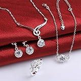 joyería de plata, joyería de moda de plata collar de cristal blanco&pulsera / tobillera&pendientes&sistemas de la...
