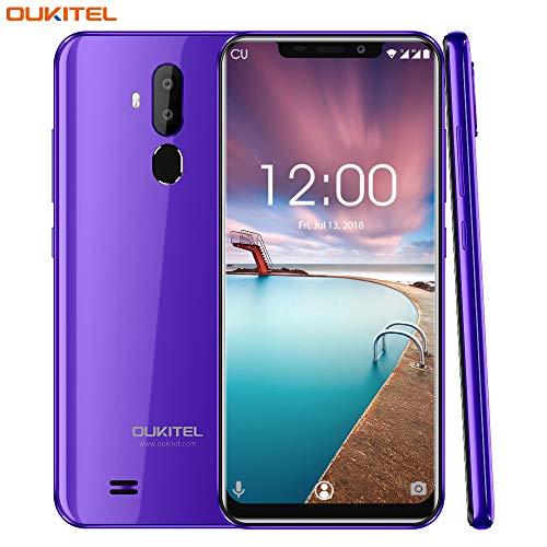 OUKITEL C12 Pro 4G Téléphone Portable débloqué Pas Cher,6.18 Pouces,Android 8.1, Double Caméras 8MP, Dual SIM, 3300mAh, Face ID, 1.5GHz Quad Core,2G RAM 16G ROM Smartphone-Pourpre