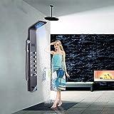Saeuwtowy Colonne de Douche LED Noir Panneau de Douche en Acier Inox Avec 6 jets de Massage Panneau écran Affichage LCD Pour Baignoire Colonne de Douche Hydromassante Système de Douche