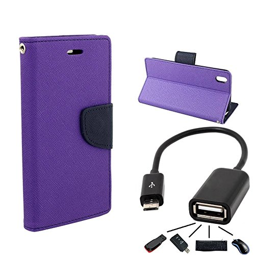 DENICELL Royal Dairy Style Flip Cover For HTC Desire 816G (ORCHID PURPLE+OTG)