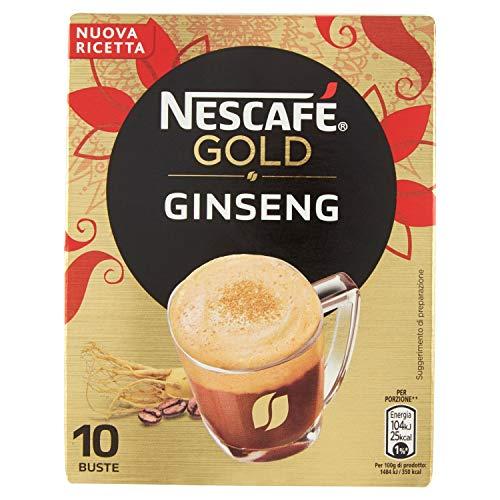 Nescafé Gold Ginseng Preparato Solubile per Caffè al Ginseng Astuccio, confezione da 4, 4 x 10 Bustine, 4 x 70 g