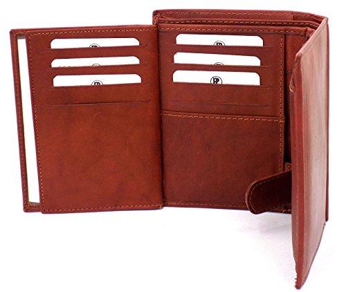 Da uomo, in pelle, colore: marrone chiaro a & Portafogli con portamonete con finestra per documenti