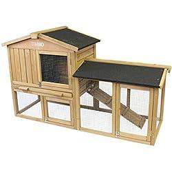Clapier JULIA en sapin massif avec un enclos extérieur, 147x52x86 cm - cage pour des petits animaux, pour l'utilisation en plein air - protection résistante aux intempéries pour des lapins en