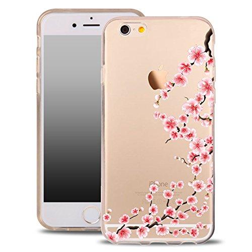 OOH!COLOR® Design Case für iPhone 4 / 4S mit Motiv MPA147 weiß Punkte modisch stilvoll Silikon Hülle elastisch Schutzhülle Transparent Case Luxus Cover Slim Etui NFL058 Kirschblüte