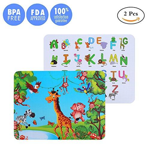 Kuke tovagliette bambini silicone stampa 3d modello colorato dei cartoni animati,resistente al calore impermeabile antiscivolo senza bpa tovagliette colazione bambini (alphabet giraffe, 2 pezzi)
