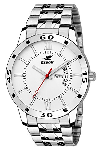 Espoir Exclusive Day & Date Display Analog White Dial Stainless Steel Men's...