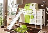 Etagenbett mit Rutsche Doppelbett Lupo Buche massiv Weiss mit Farbauswahl, Vorhangstoff:Beige Grün