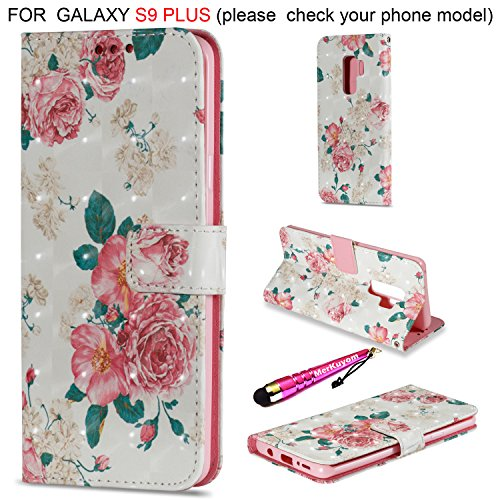 Galaxy S9Plus Fall, merkuyom [Spezial-3D-] [Handschlaufe] [Standfuß] Premium PU Leder Wallet Tasche Flip Cover Case für Samsung Galaxy S9Plus/S9+, W/Stylus, Pink Rose Flowers (Fällen Handy Verizon Flip)