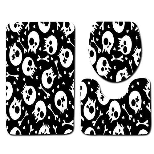 QWER Dreiteiliges Badezimmer Toilette 3 Stück Bad Matte Sets Schädel Kreative Bad Wc Dekoration Bad Bodenmatte rutschfeste Bad Carpet Saugfähigen Badematte (Badematte Schädel)