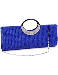 Bolso Satén Para Mujer de Mano con Asa Corta de Brillante Diamantes Fiesta Boda Salir Color Azul