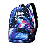 dsgsd Schultasche Show Me Your Pitties Funny Pitbull Starry Sky Book Bag Quality Big Galaxy Backpack