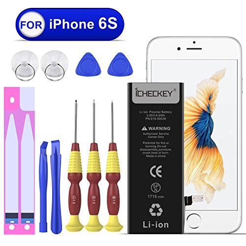 Original Ersatz Li-ionen Akku (ICHECKEY Ersatz-Akku für iPhone 6S Batterie 1715mAh Battery Lithium-Ionen Accu inkl. Akku-Wechsel Kit mit Klebestreifen Akku-Austausch Anleitung (Nicht für iPhone 6))