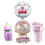 4Stck Mädchen Folie Helium Ballon für Neugeborene Baby-Party Geburtstag Party rose
