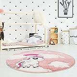 Kinderteppich Hochwertig mit Einhorn, Sterne, Regenbogen in Rosa mit Konturenschnitt, Glanzgarn für Kinderzimmer Größe 120/120 cm Rund