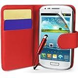 Rot Supergets Hülle für das Samsung Galaxy S3 Mini I8190 Klapptasche in Lederoptik mit Karteneinschub und Magnetverschluß Etui Flip Case, Schutzfolie, Reinigungstuch, Mini Eingabestift