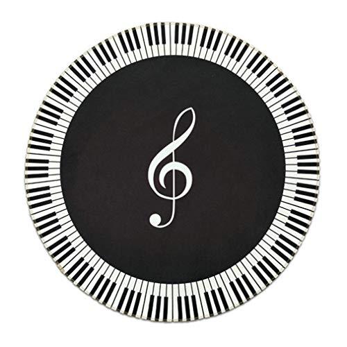 Runde Bodenmatte Teppich runden schwarzen und weißen Tastatur Klavier Stuhl Fuß Pad Dreieck Klavier Drehstuhl Kissen Slip WANGYUE -