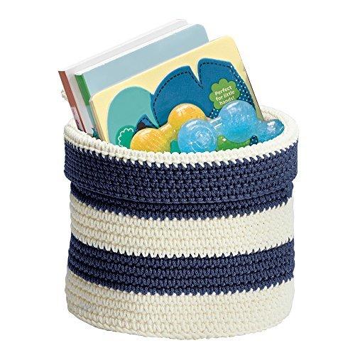 Knit Baby Nursery Closet Organizer Bin for Lotion, Medicine, Bibs, Books, Toys - Small, Navy/Ivory